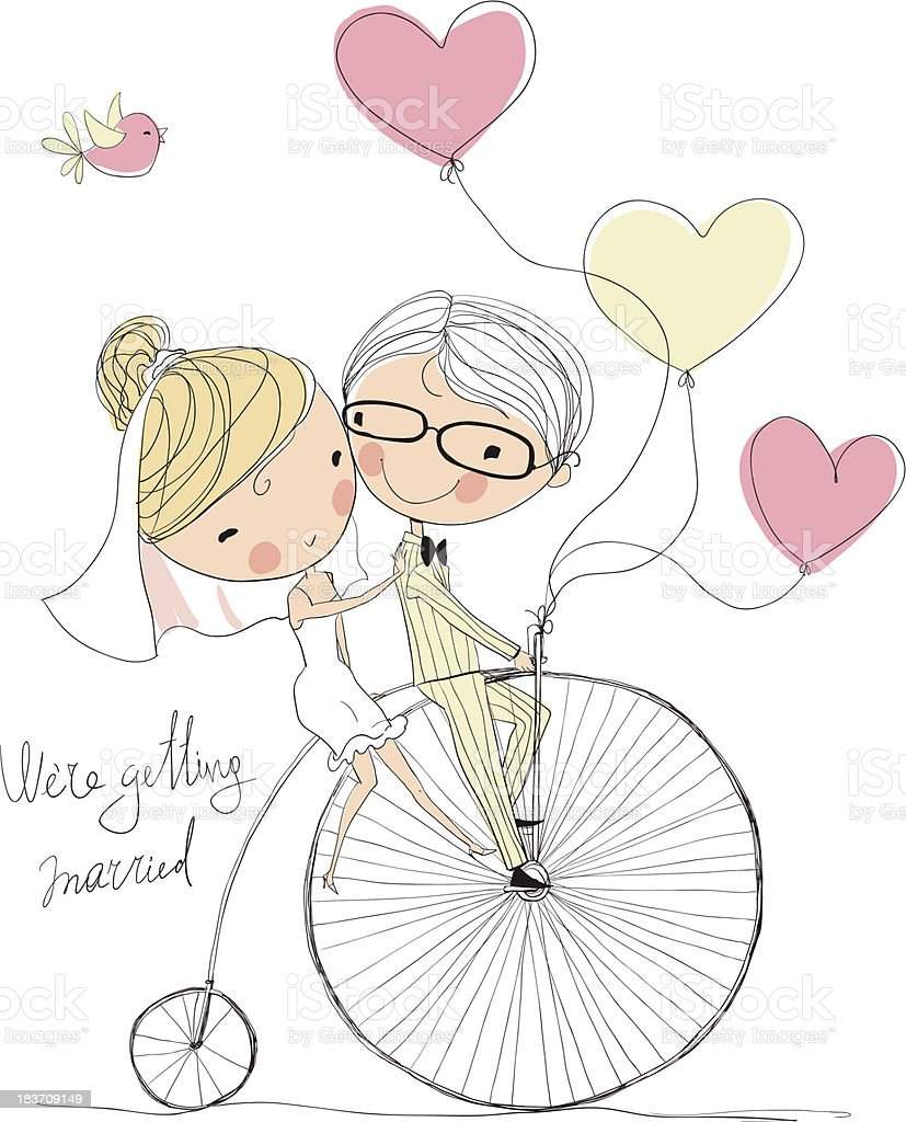 wedding picture, bride and groom ride bikes royalty-free stock vector art