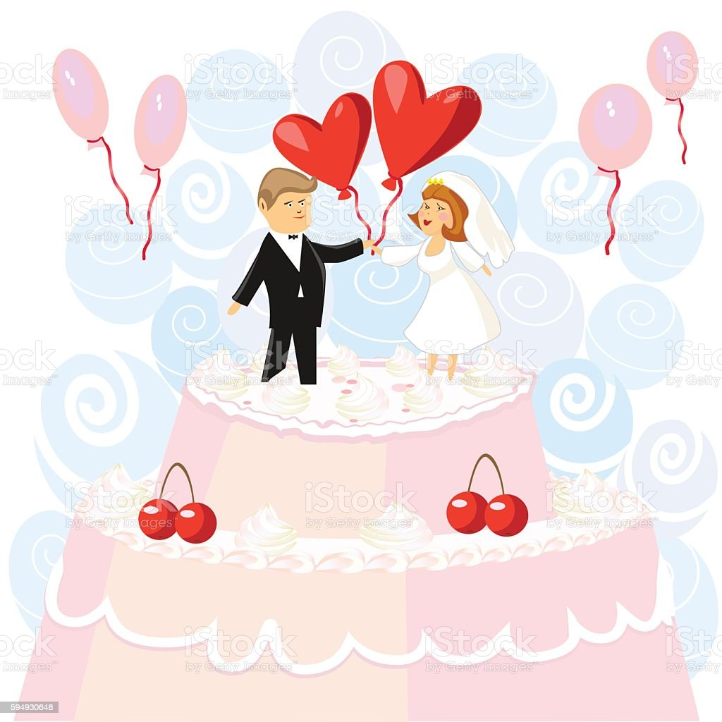 Wedding pink cake with figurines of the bride and groom royalty-free stock vector art
