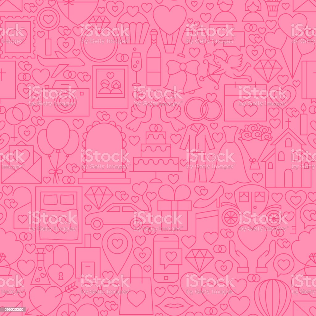Wedding Pink Line Tile Pattern vector art illustration