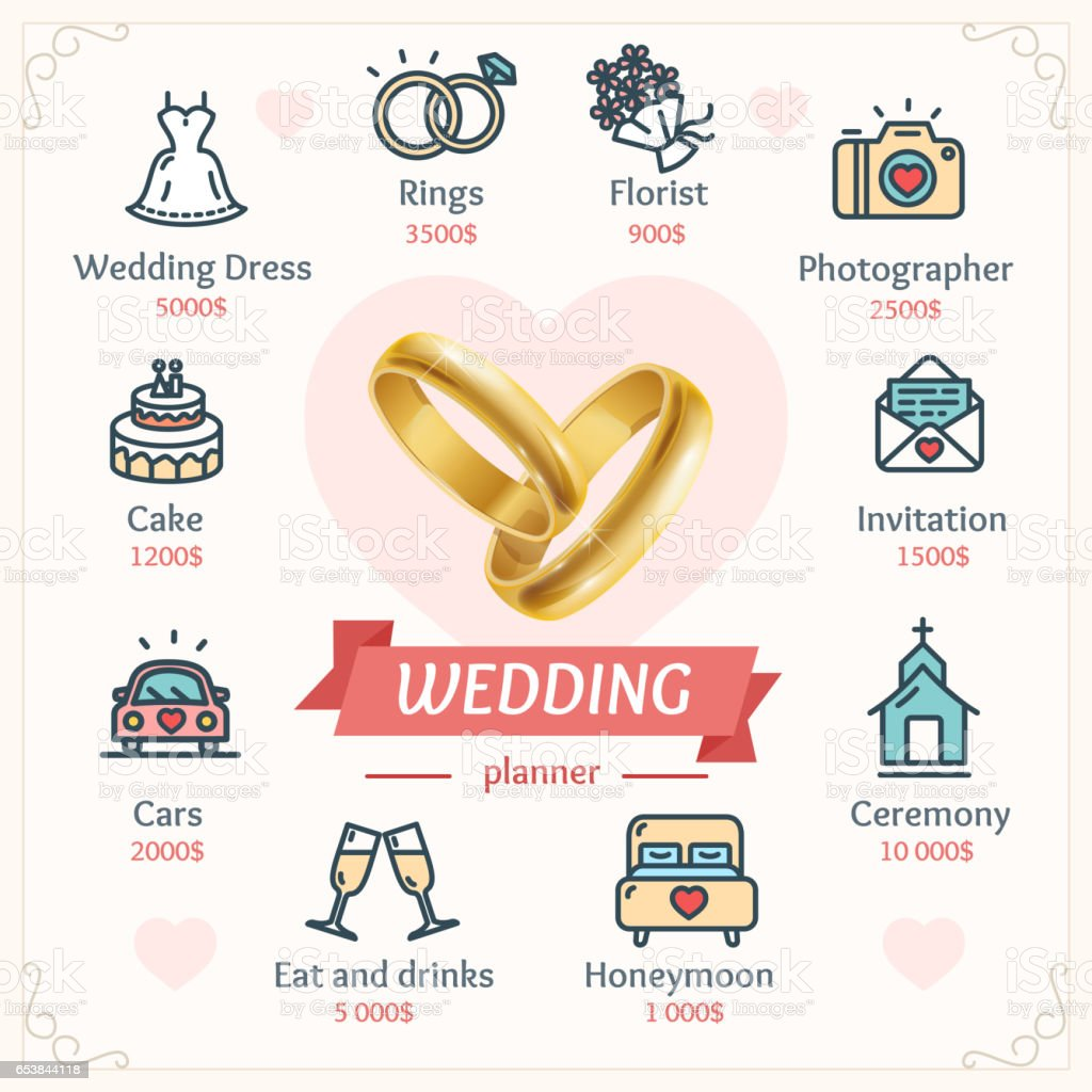 Wedding Planner Concept with Shiny Gold Rings. Vector vector art illustration