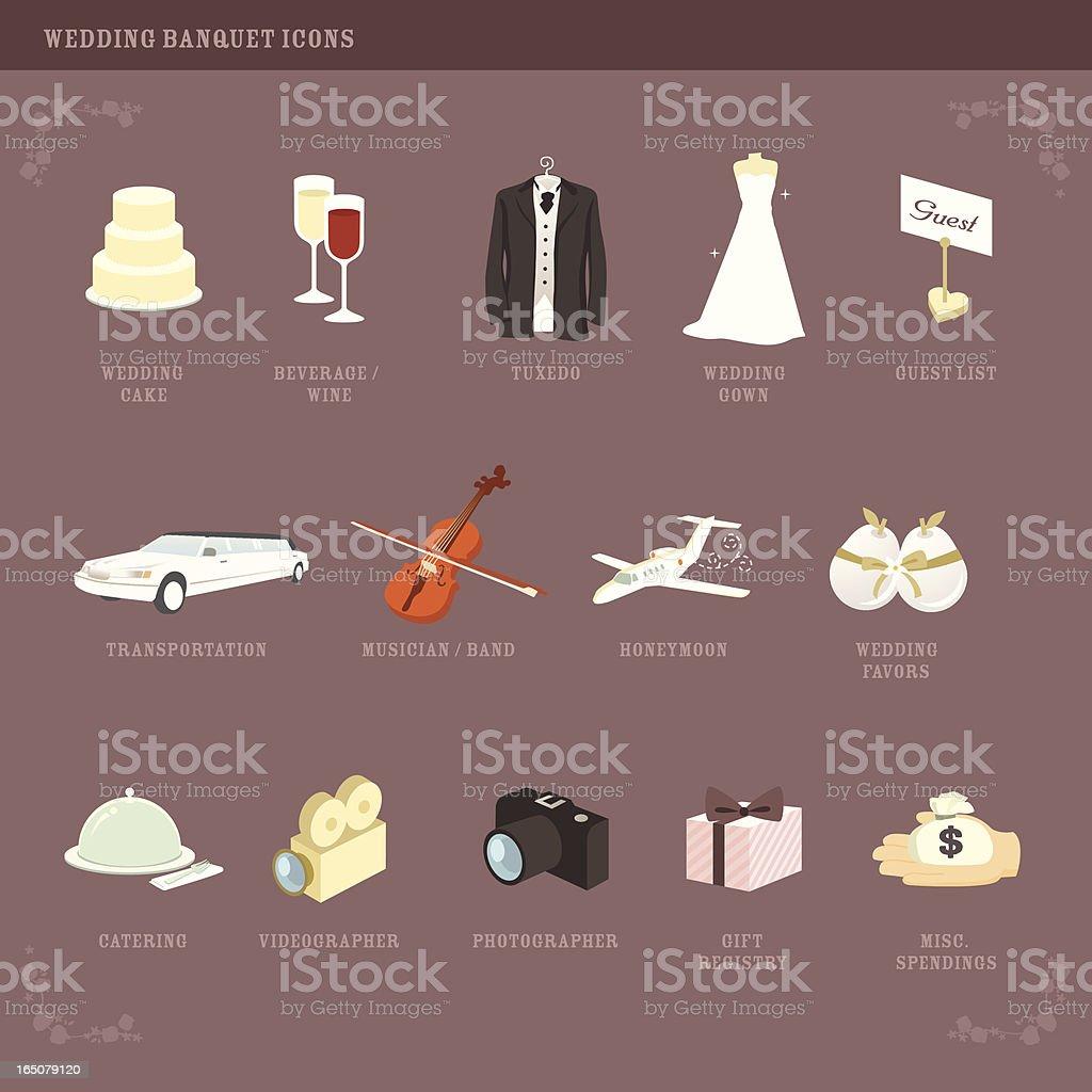 Wedding Planning icons (2) vector art illustration