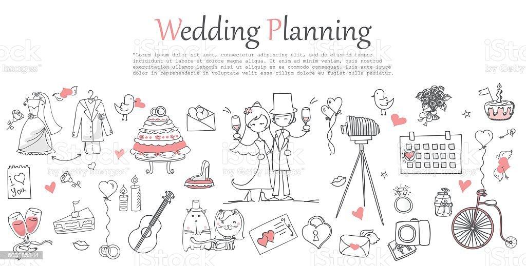 Wedding planning vector art illustration