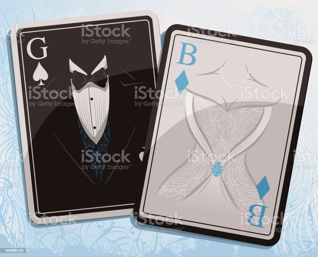 Wedding Playing Cards royalty-free stock vector art