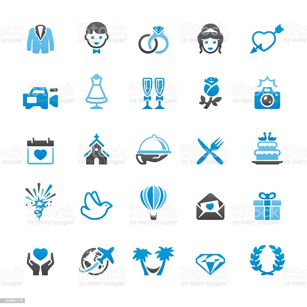 Wedding related vector icons vector art illustration