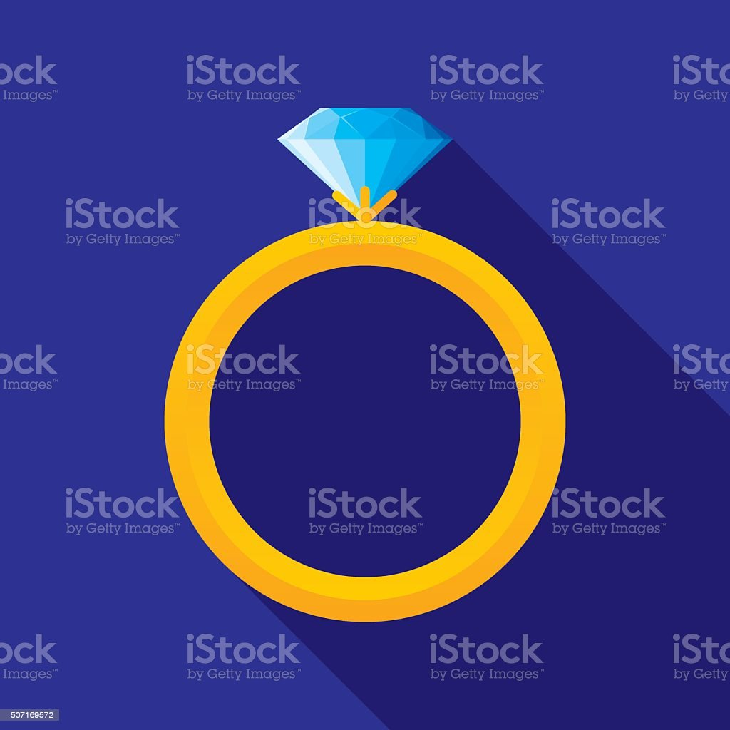 Wedding Ring Icon Flat vector art illustration