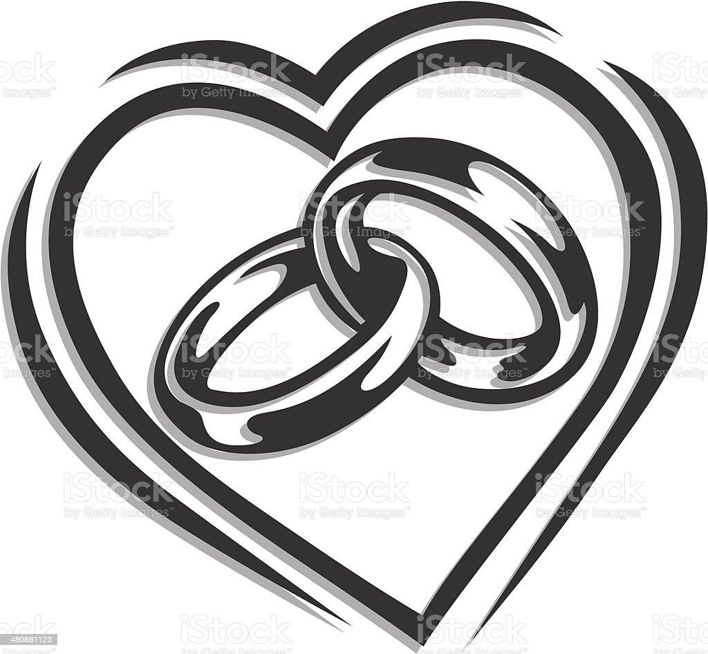 Obrączka w sercu stockowa ilustracja wektorowa royalty-free