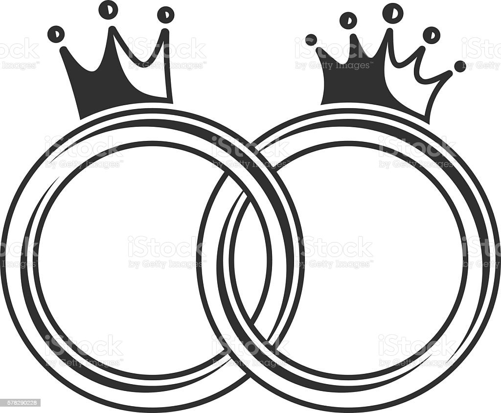 Wedding Ring With Crown Stock Vector Art 578290228