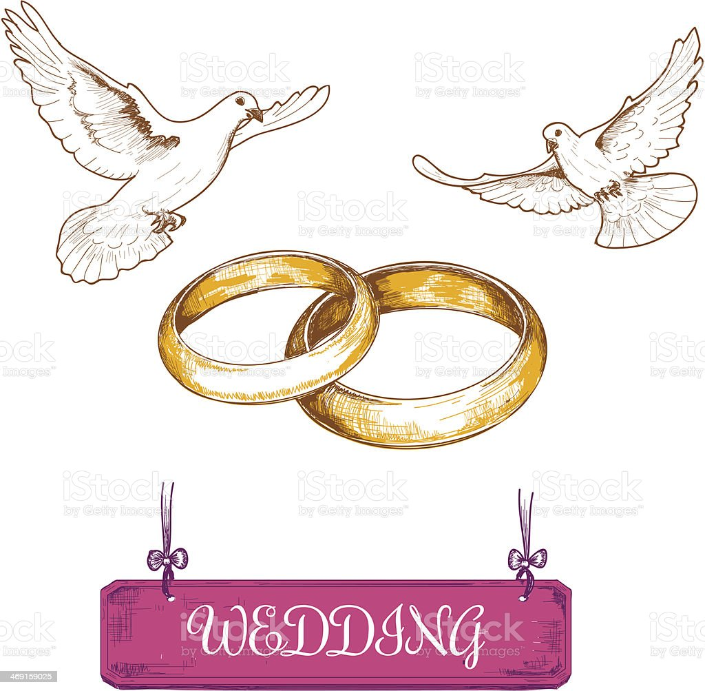 Wedding rings and pigeons royalty-free stock vector art