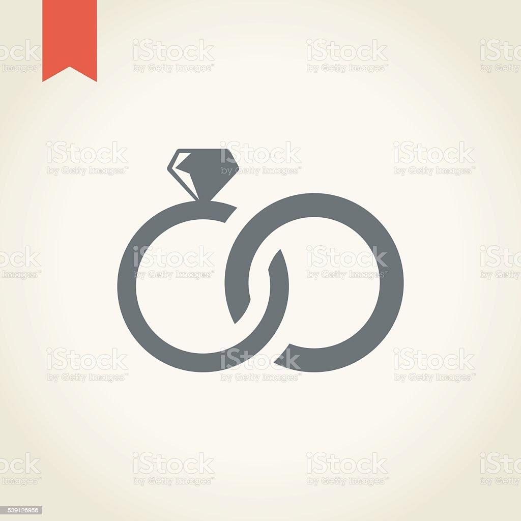 Wedding rings icon vector art illustration