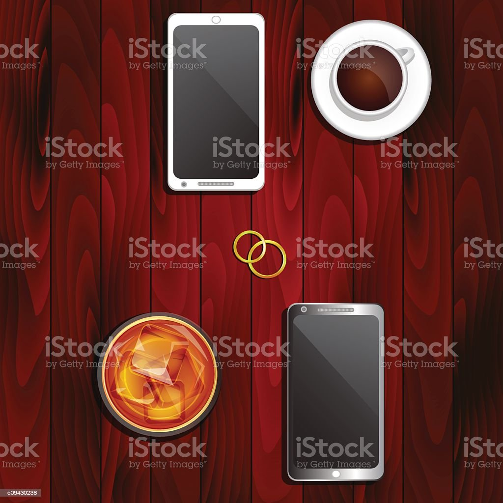 Wedding rings, telephones and drinks vector art illustration