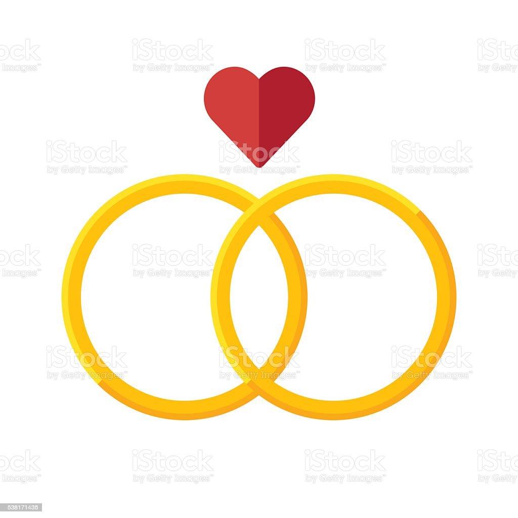 Wedding rings vector icon vector art illustration