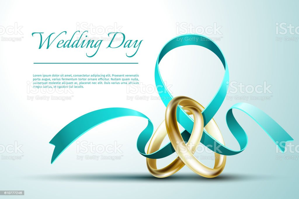 wedding rings with ribbon invitation card vector template stock, Wedding invitations