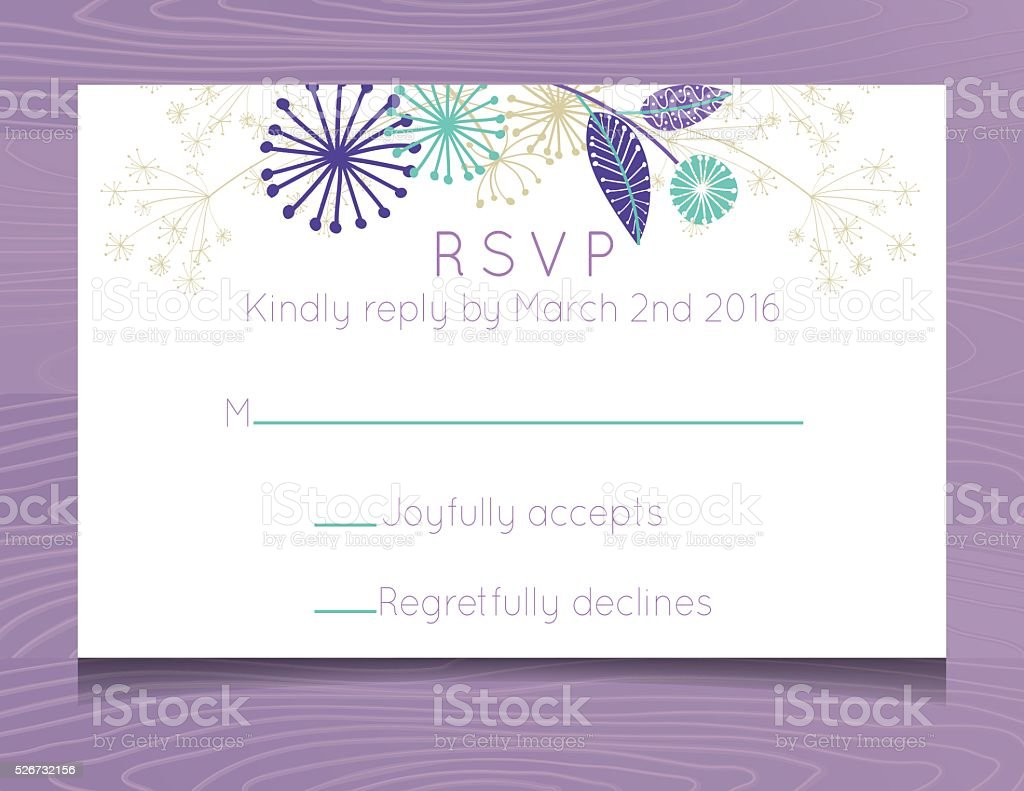 Wedding RSVP Card Template with Wildflowers On Wood Background vector art illustration