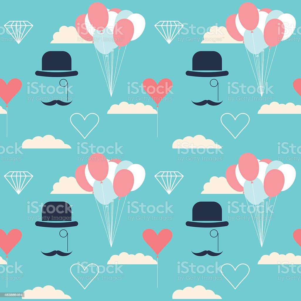 wedding seamless pattern background with cartoon romantic decorative isolated elements vector art illustration