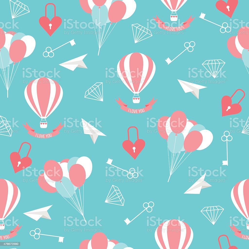 wedding seamless pattern background with isolated cartoon romantic decorative elements vector art illustration