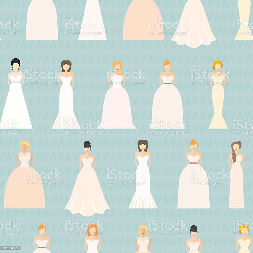 Wedding Seamless Pattern vector art illustration