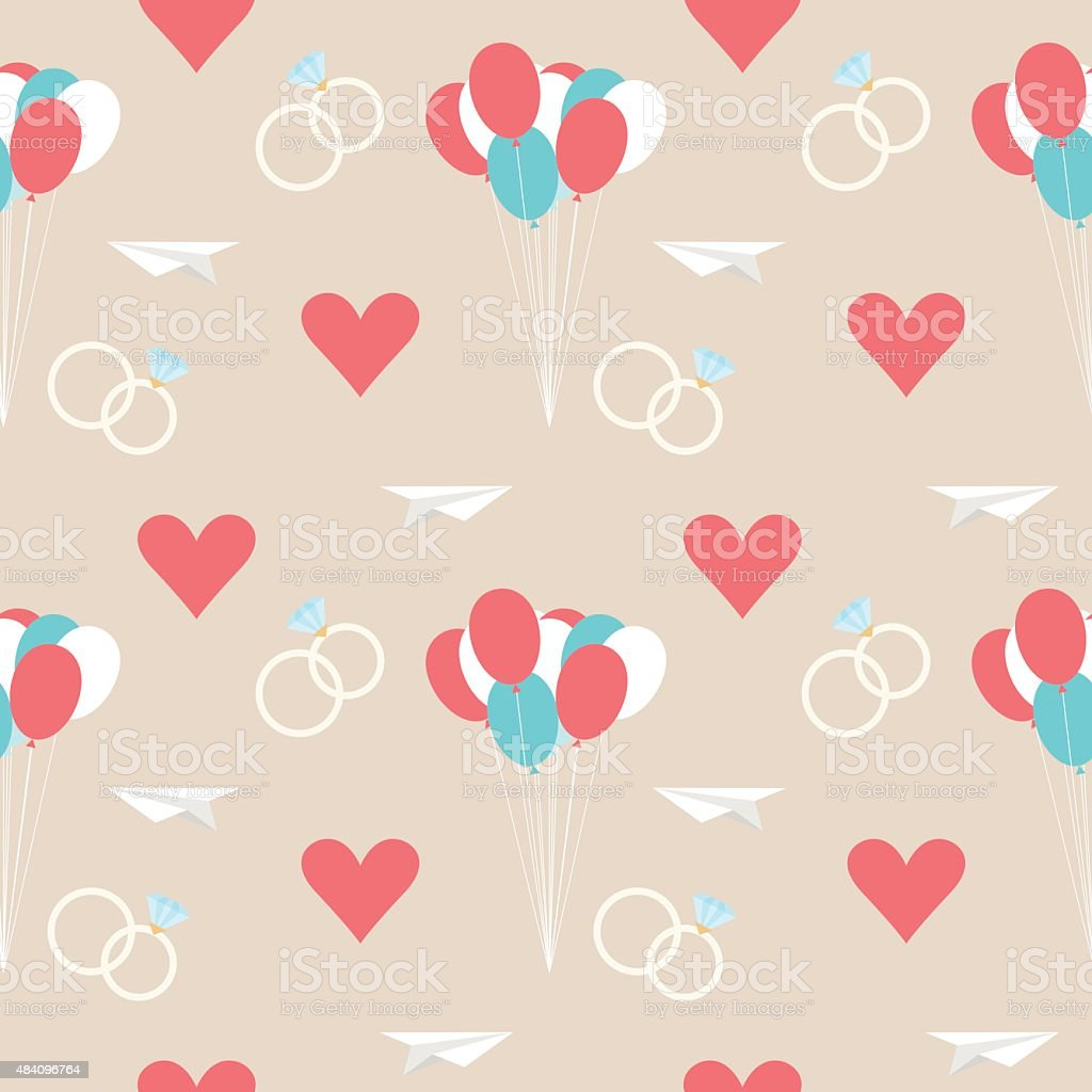 wedding seamless romantic decorative pattern background with cartoon isolated elements vector art illustration