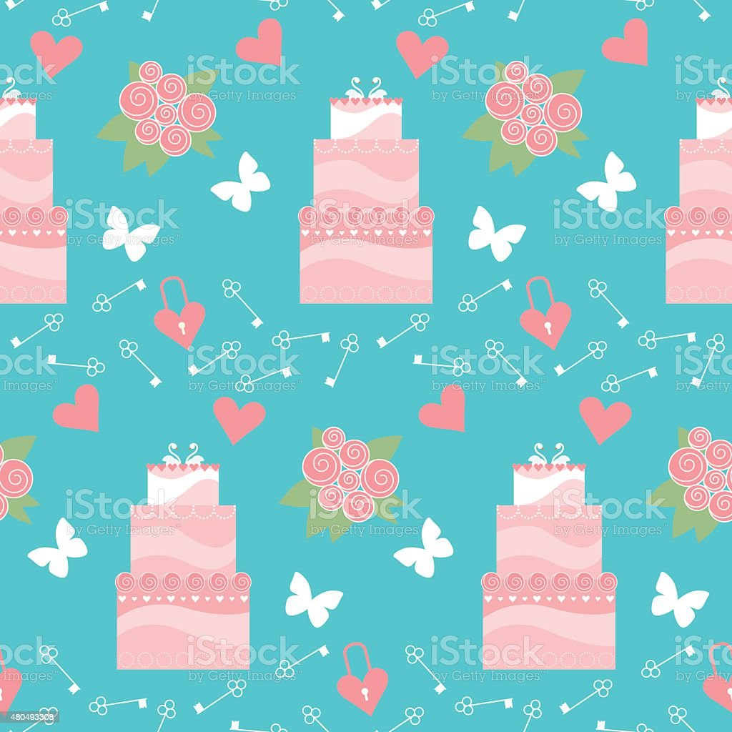 wedding seamless romantic decorative pattern background with pink cartoon cake vector art illustration
