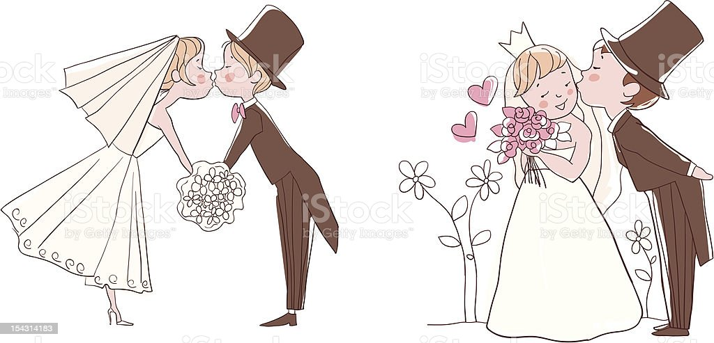 Wedding set: Bride and groom kissing royalty-free stock vector art