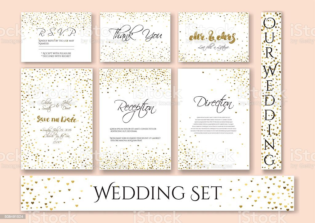 Wedding set cards with the abstract golden confetti backgrounds. vector art illustration