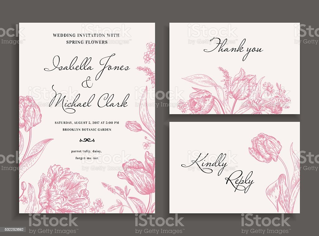 Wedding set with spring flowers. vector art illustration
