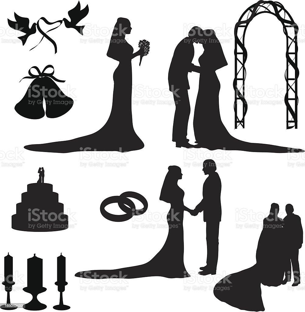 Wedding Silhouette Collection (vector+jpg) vector art illustration