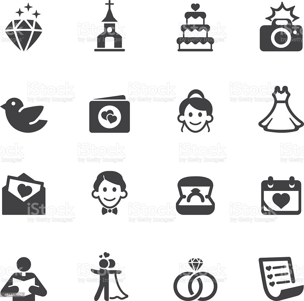 Wedding Silhouette Icons 1 vector art illustration