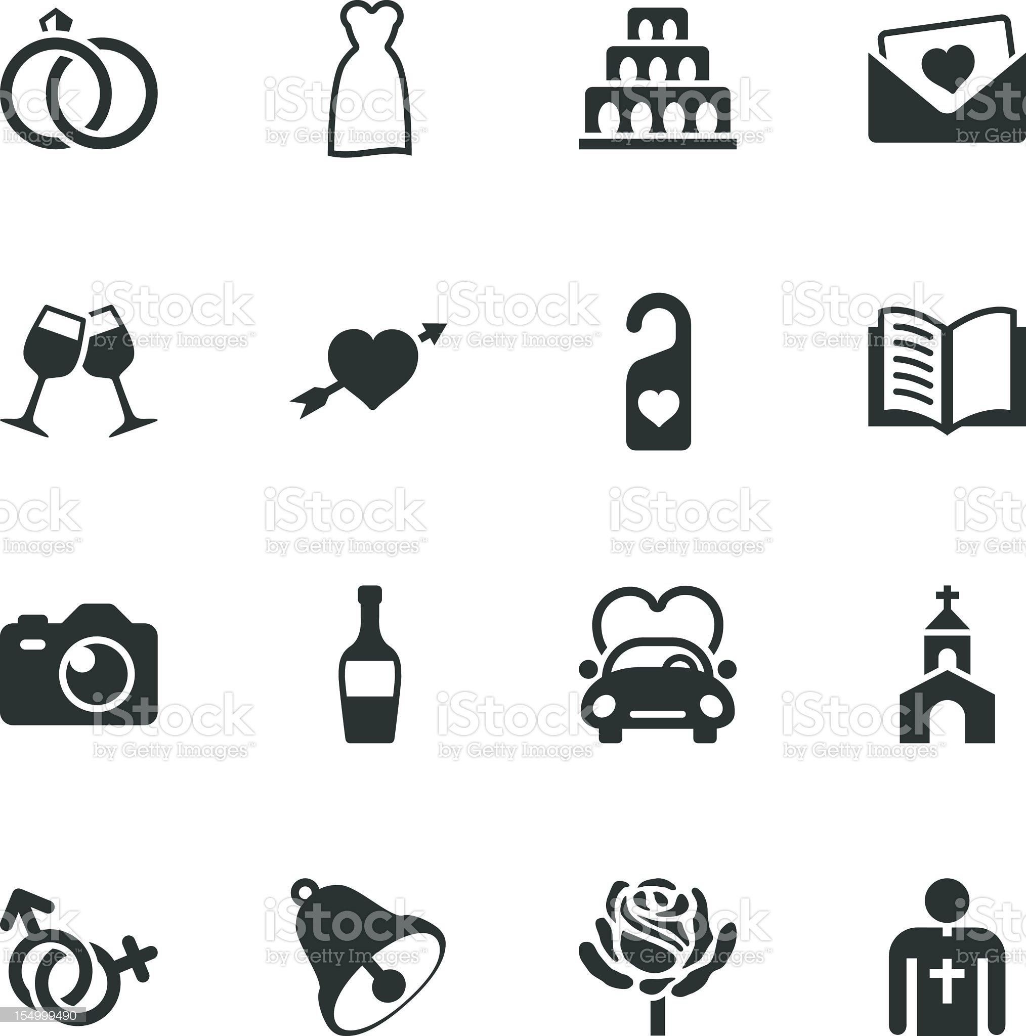Wedding Silhouette Icons royalty-free stock photo