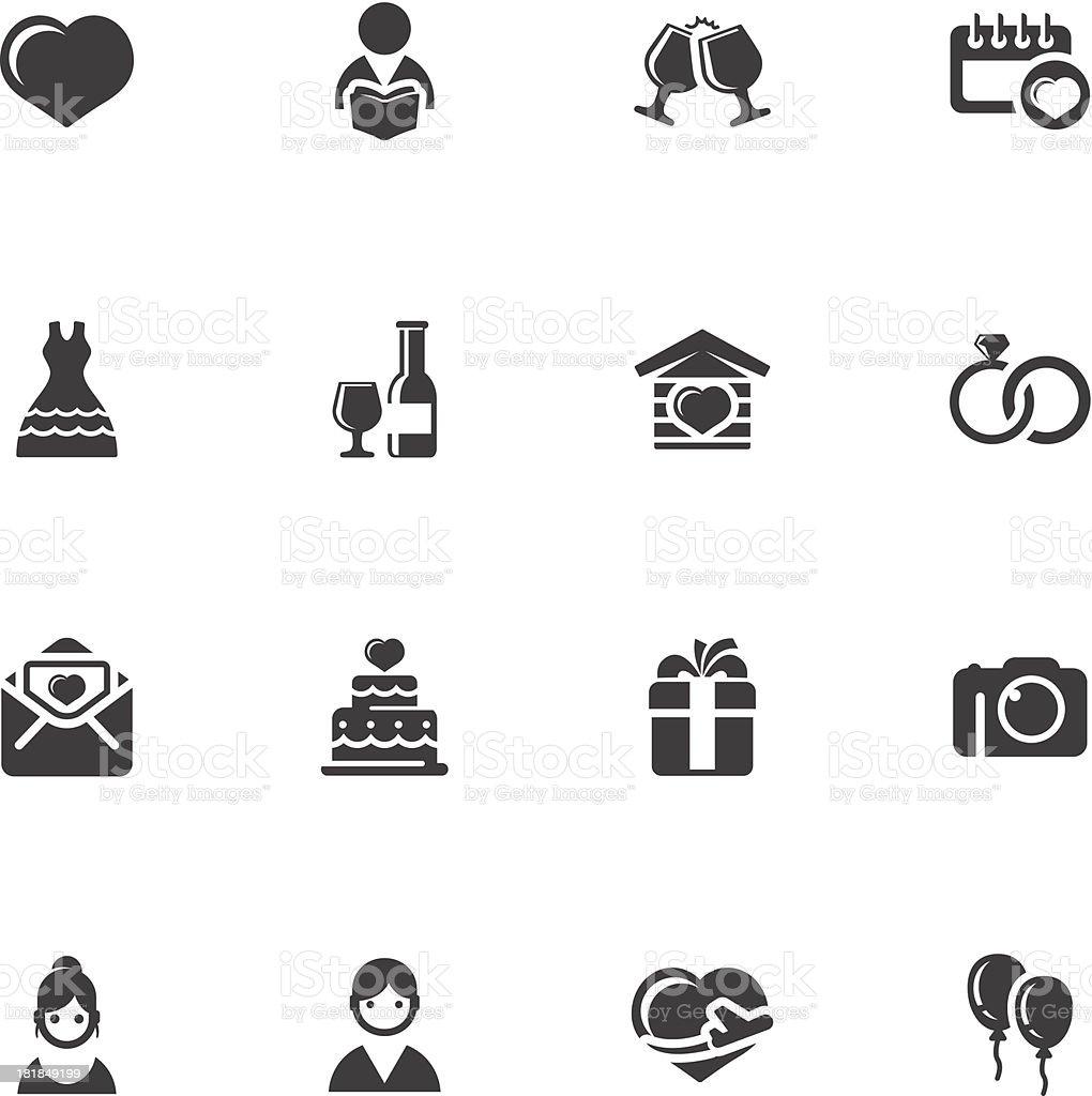 wedding simple icons vector art illustration