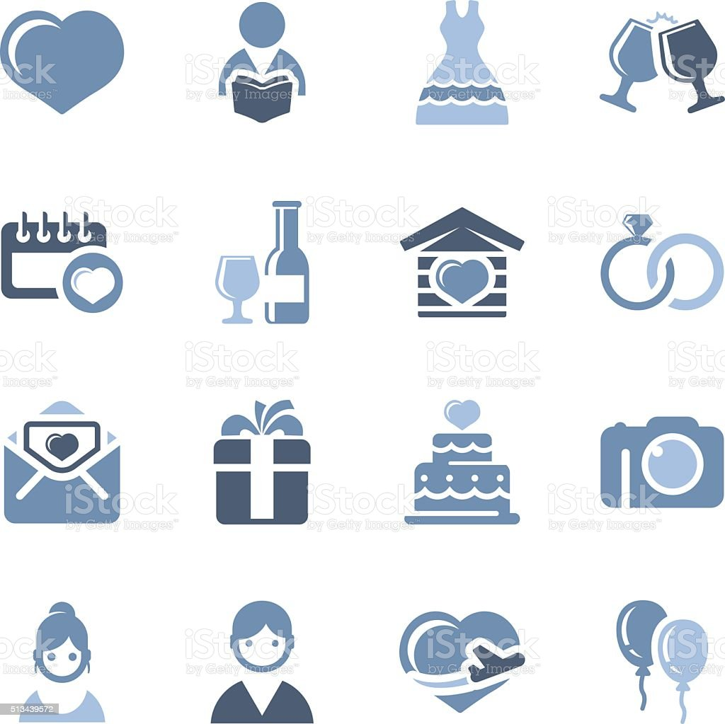 wedding simple icons vector art illustration
