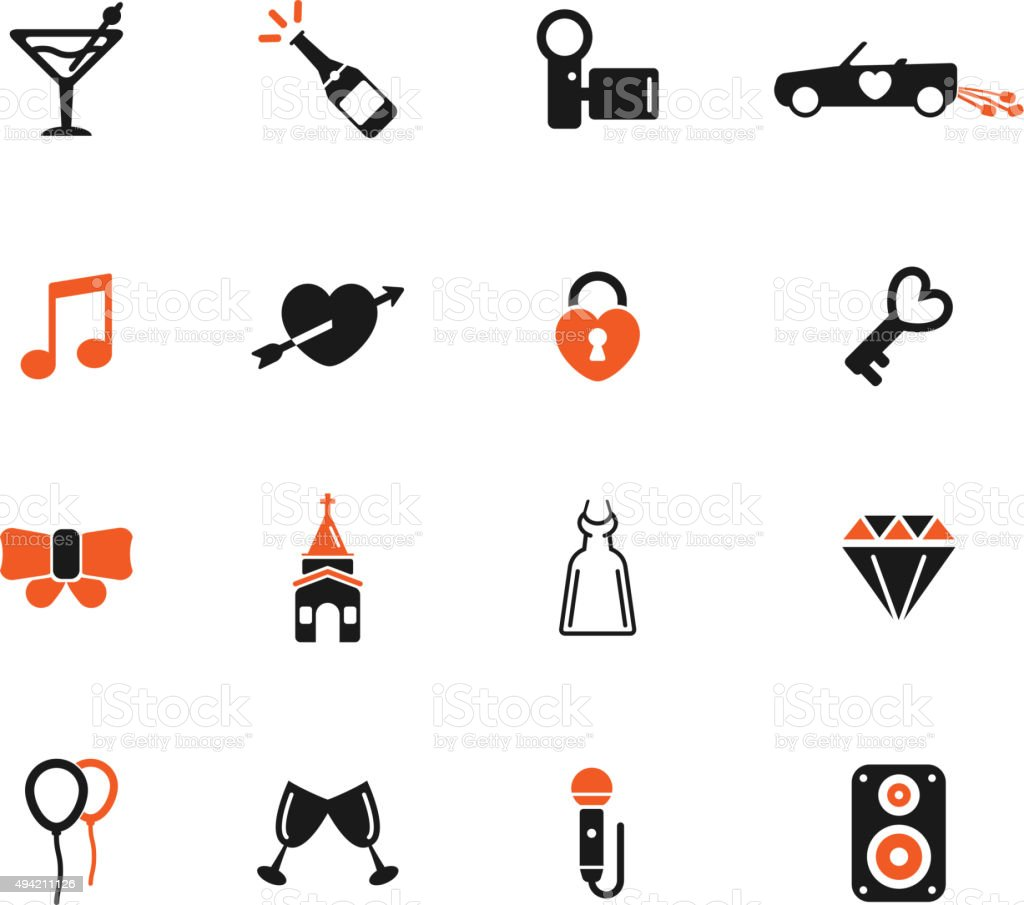 Wedding simply icons vector art illustration