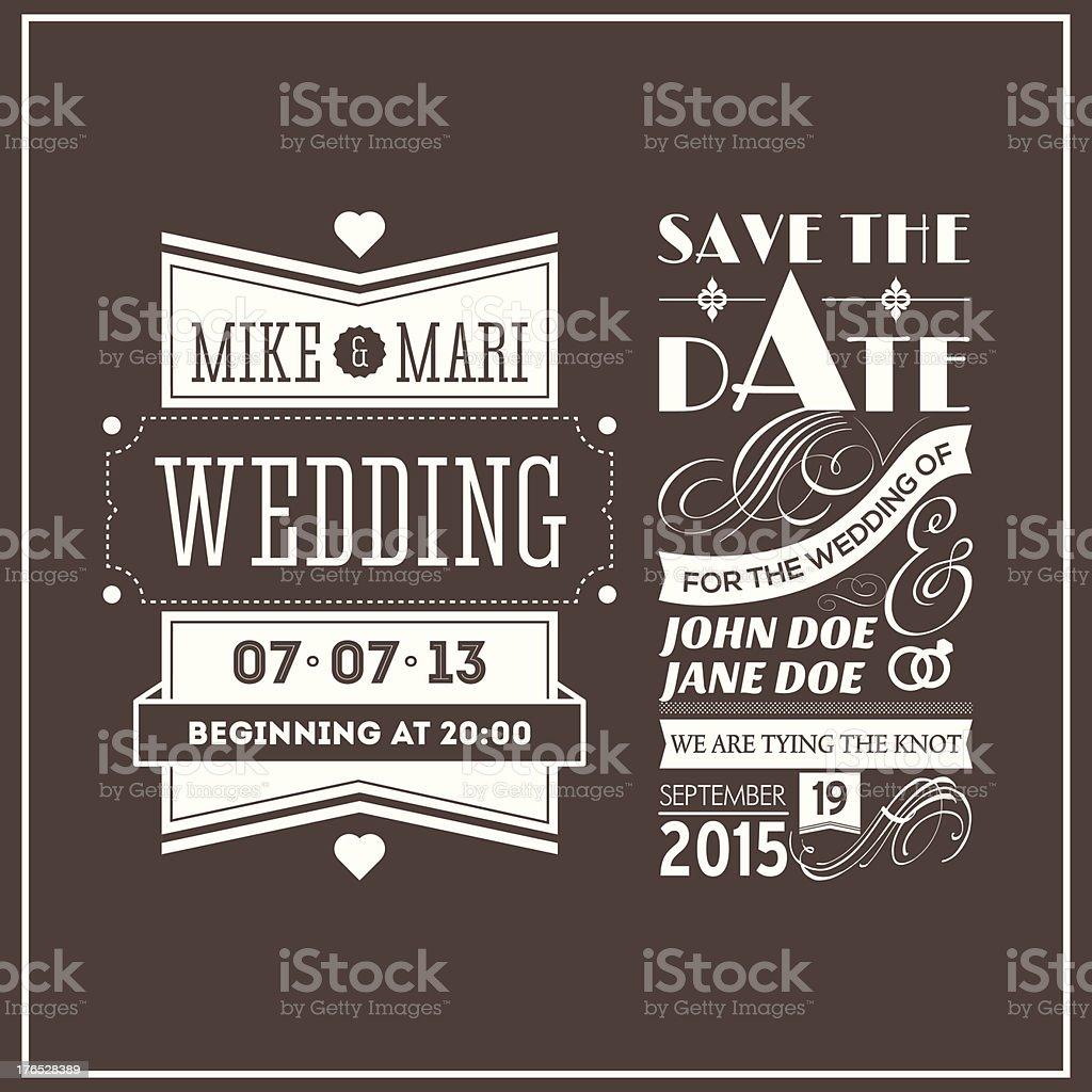 Wedding stamps brown vector art illustration