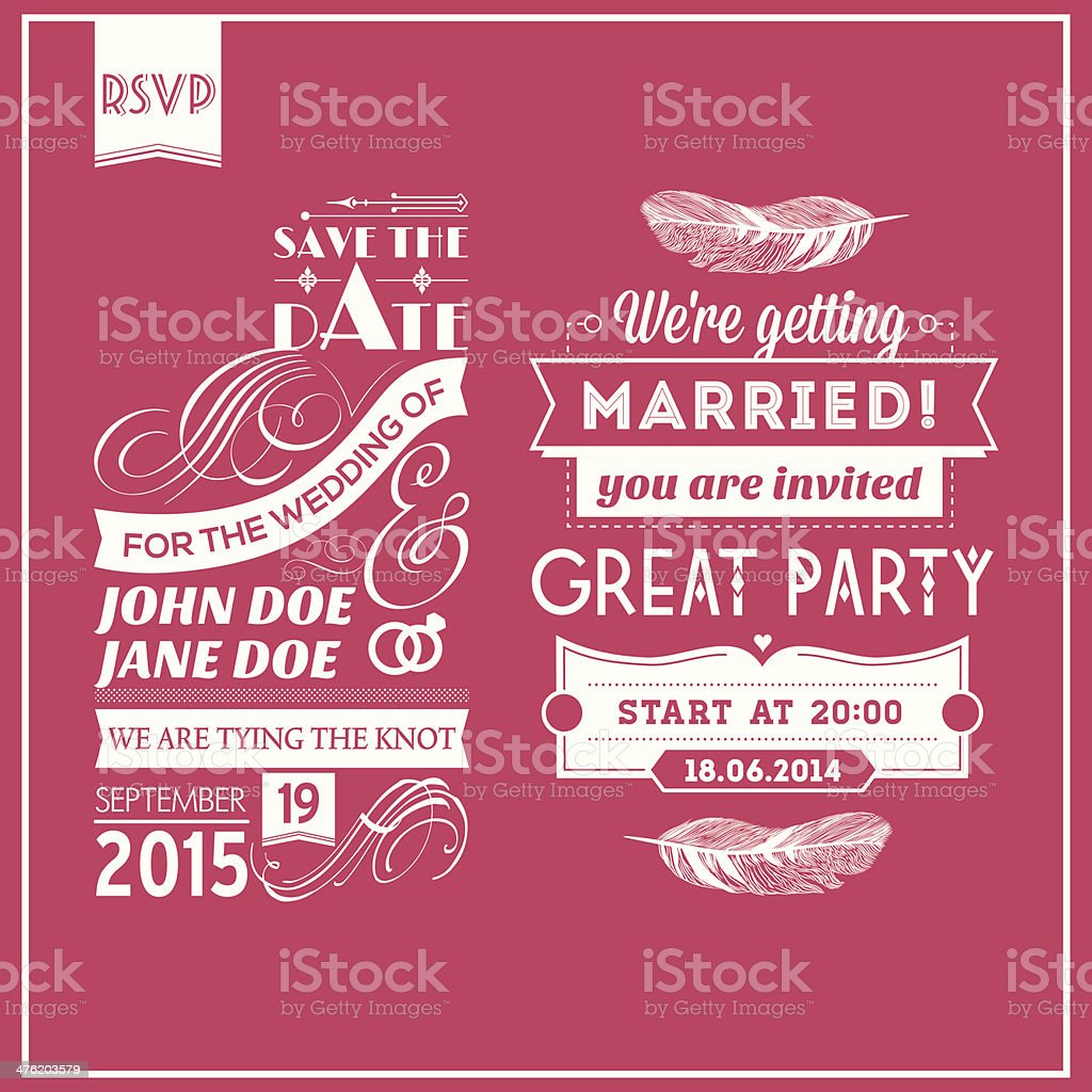 Wedding stamps pink royalty-free stock vector art