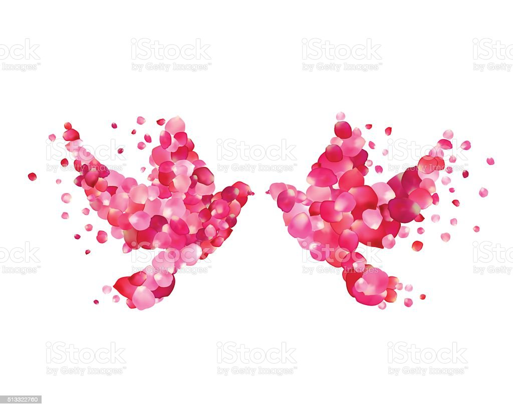 Wedding symbol  Wedding Symbol Couple Dove Of Pink Rose Petals Love stock vector ...