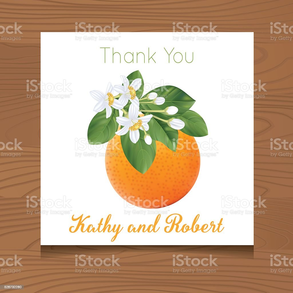 Wedding Thank You Template with Oranges On Wood Background vector art illustration