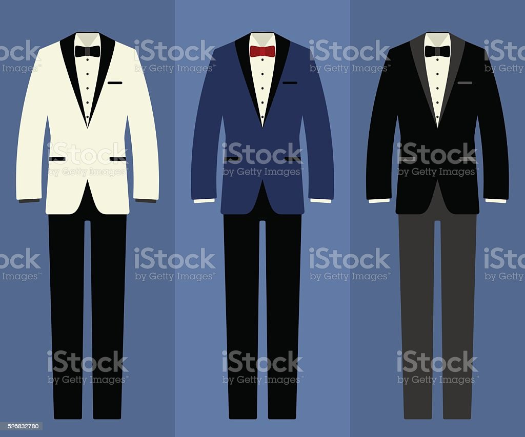 Wedding tuxedo set vector art illustration