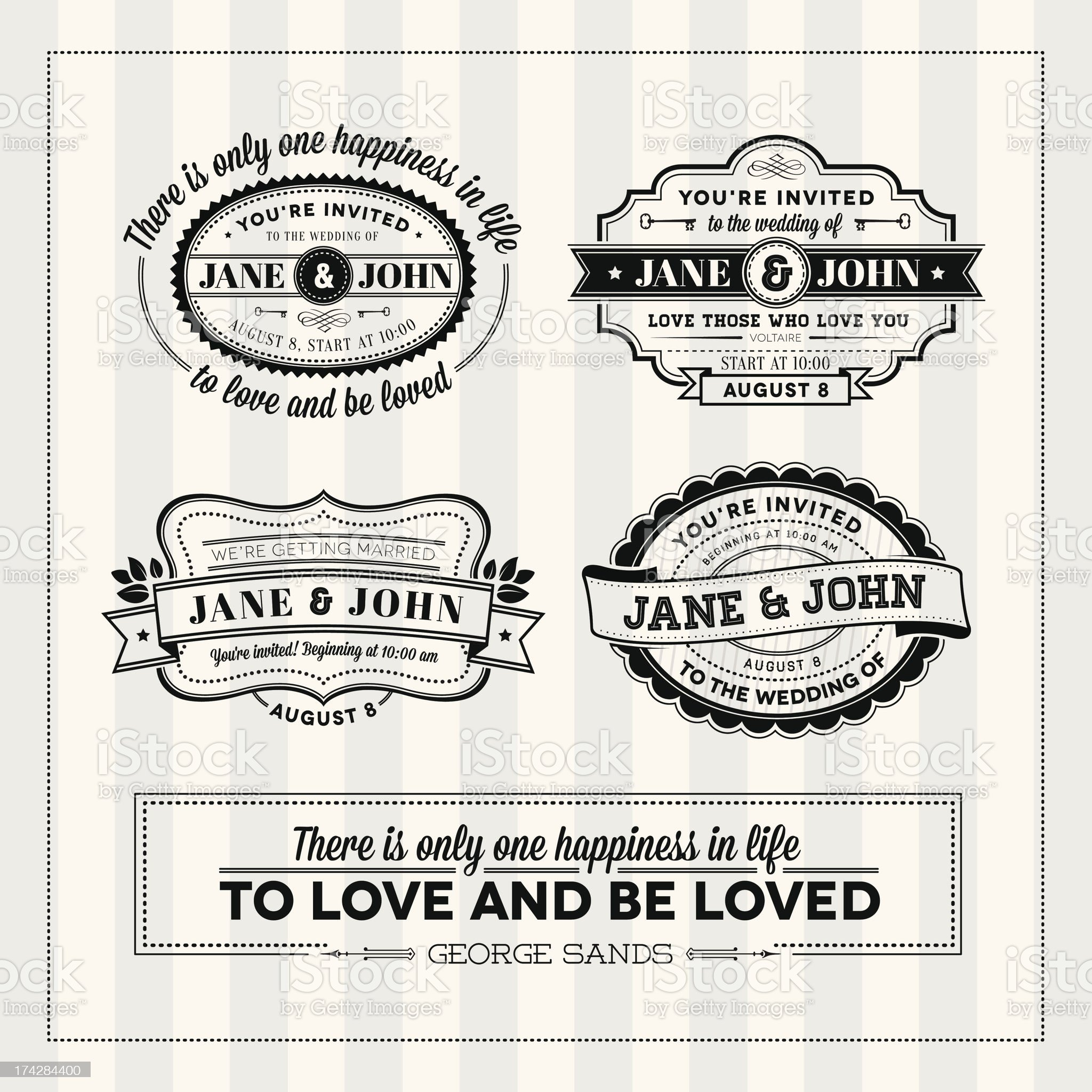Wedding typography stamps royalty-free stock vector art