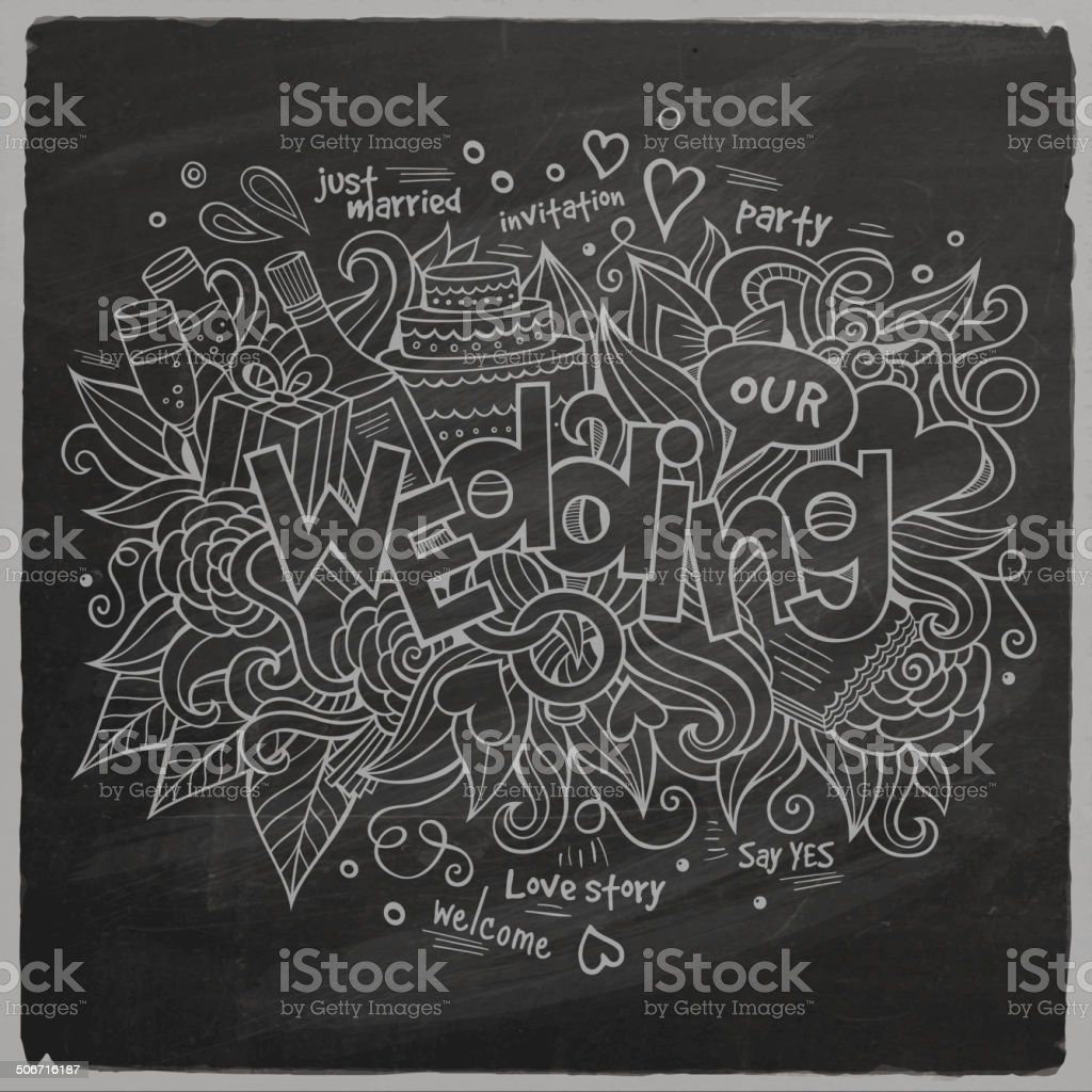 Wedding Vector hand lettering and doodles elements vector art illustration