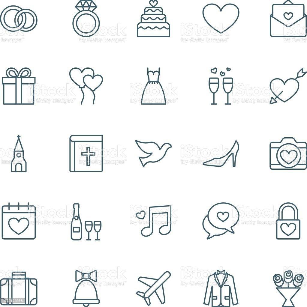 Wedding vector icons set vector art illustration