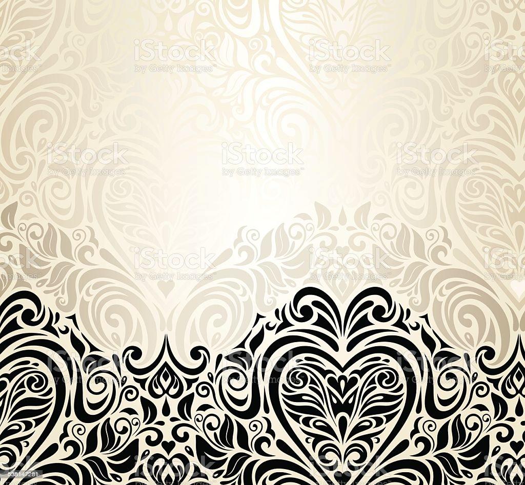 Wedding vintage floral invitation background design vector art illustration