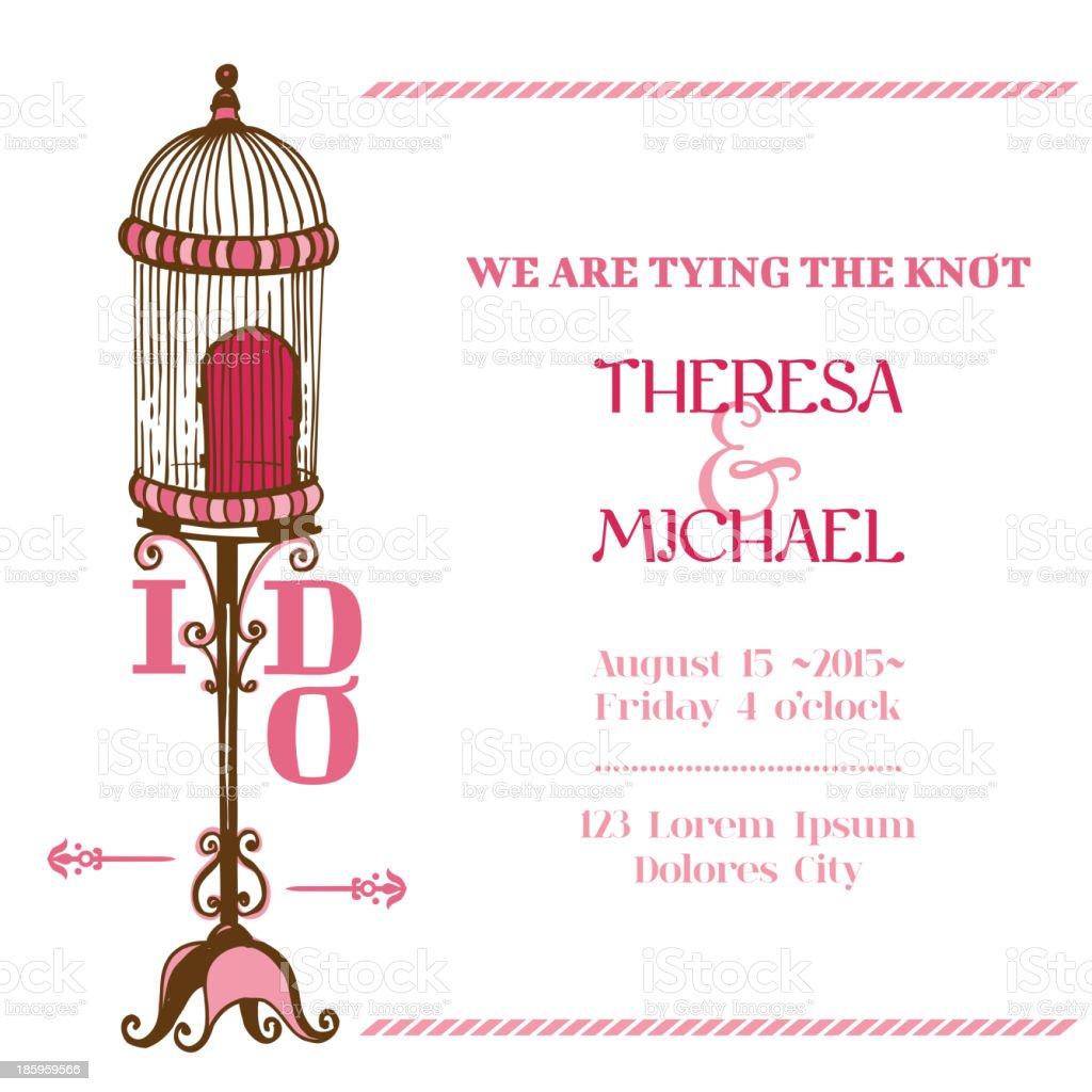 Wedding Vintage Invitation Card - Bird Cage royalty-free stock vector art