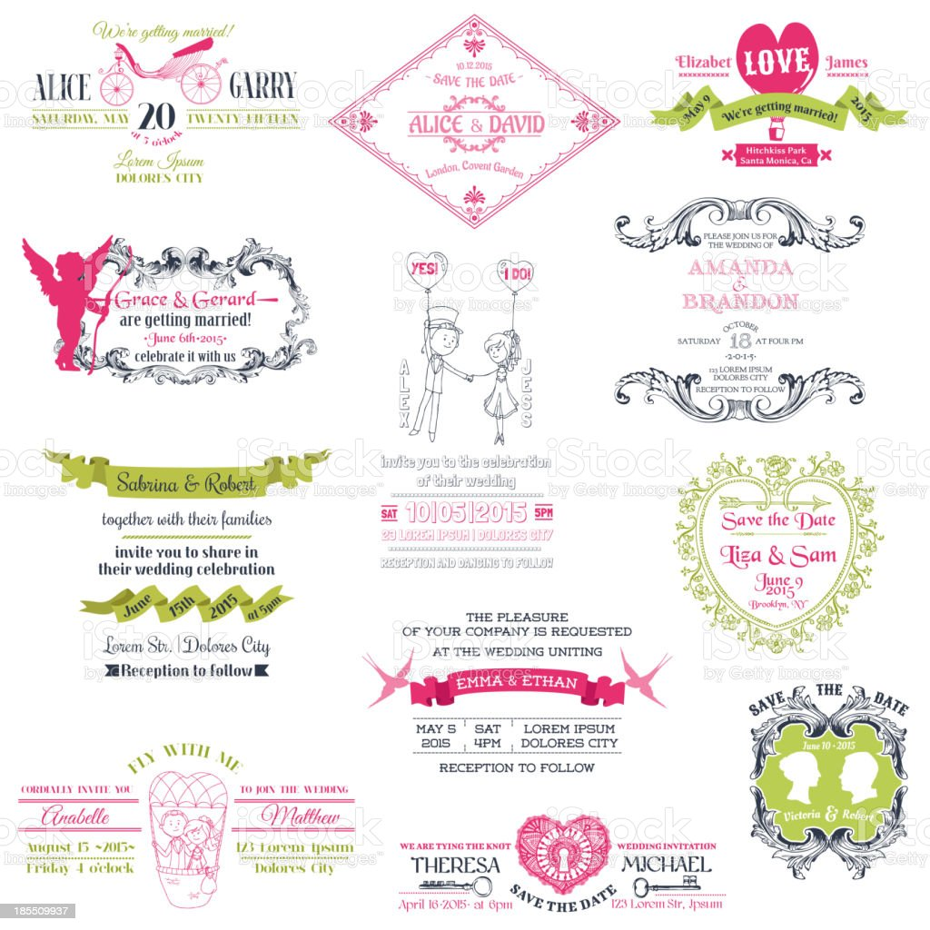 Wedding Vintage Invitation Collection royalty-free stock vector art
