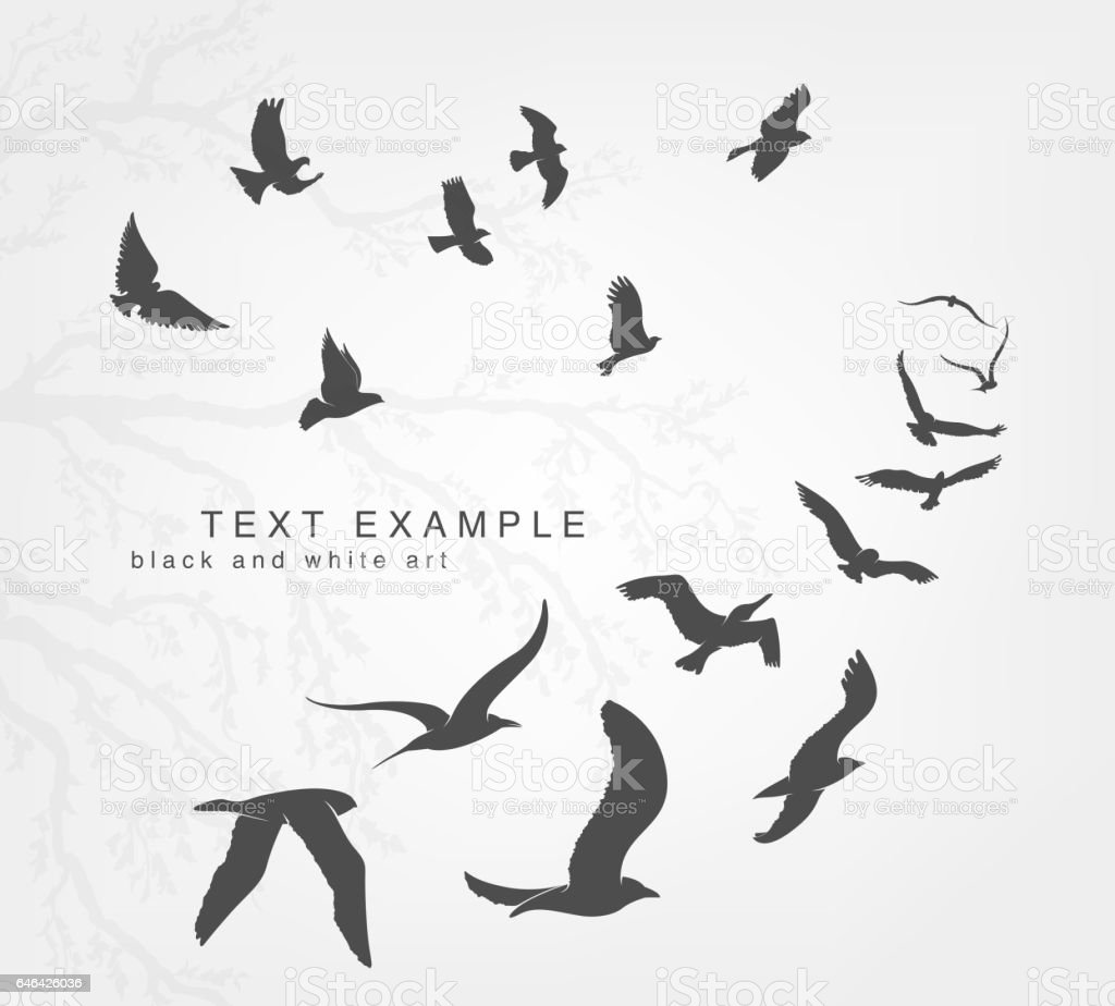 wedge of birds flying in the sky vector art illustration