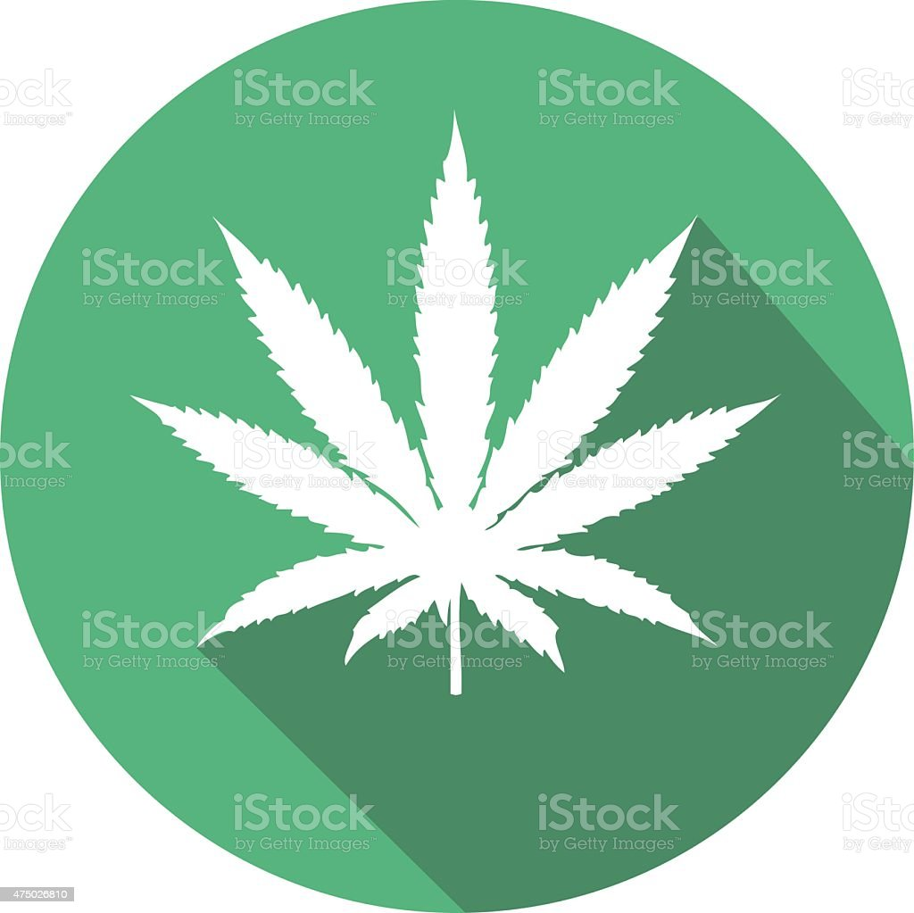 weed or cannabis flat icon in green vector art illustration