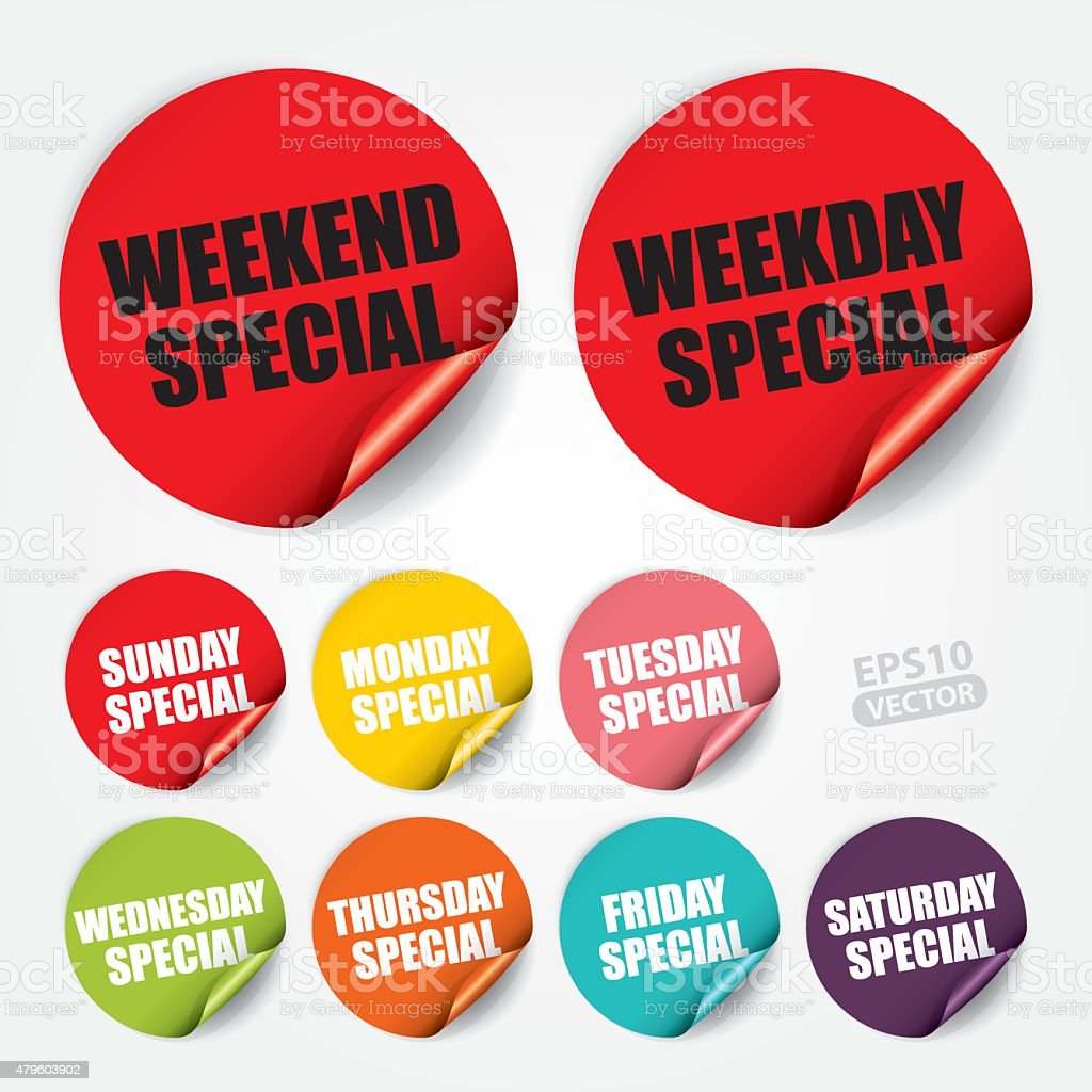Weekday and Weekend Special Sticker and Tag vector art illustration