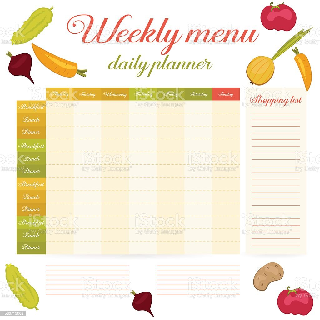 Weekly menu cute vintage daily planner vector art illustration