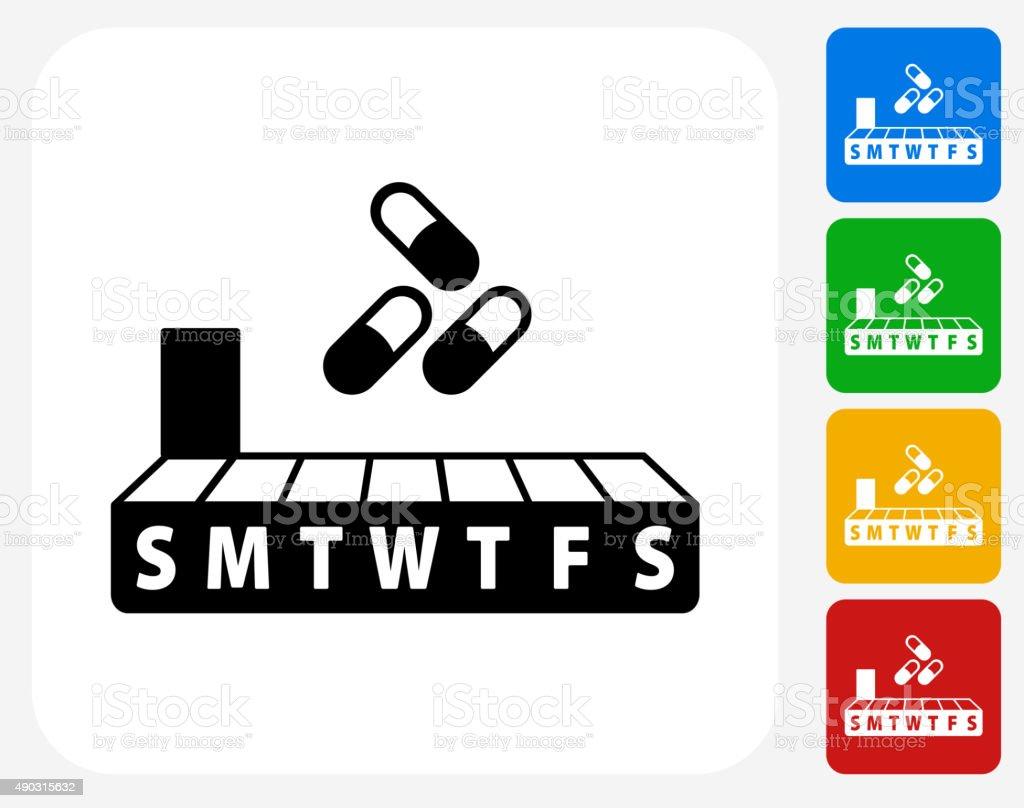 Weekly Pill Box Icon Flat Graphic Design vector art illustration