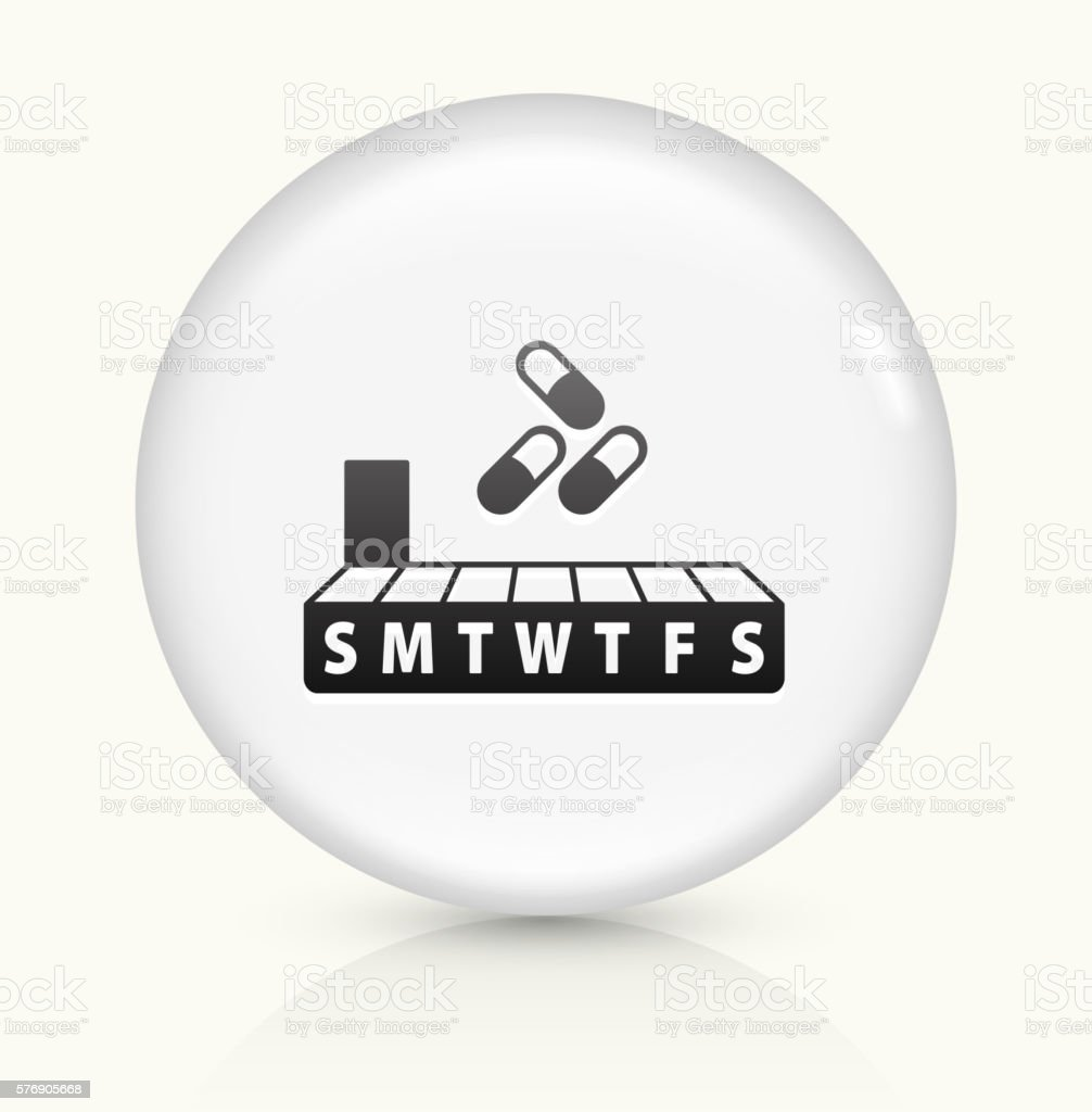 Weekly Pill Box icon on white round vector button vector art illustration