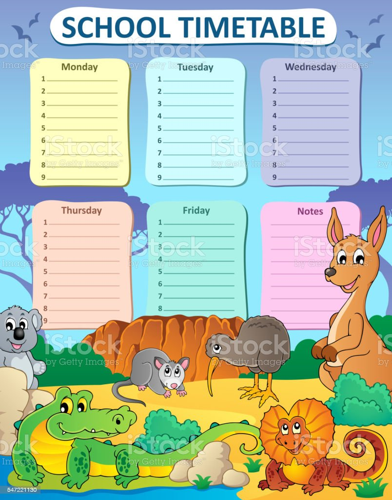 Weekly school timetable composition 3 vector art illustration