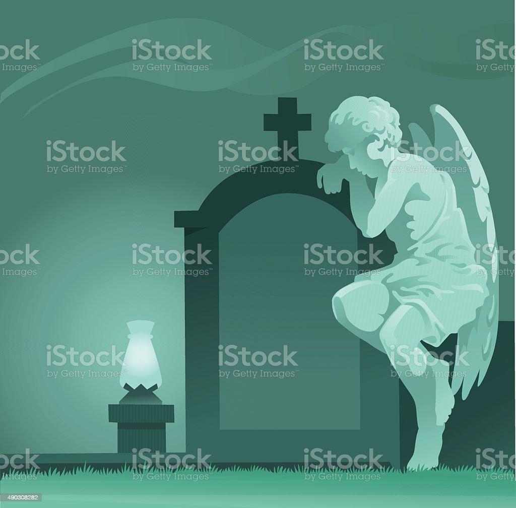 Weeping Angel Statue - Graveyard vector art illustration